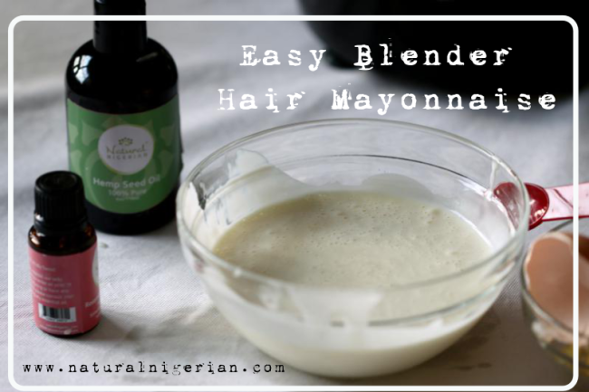 Hair Mayonnaise made in a blender