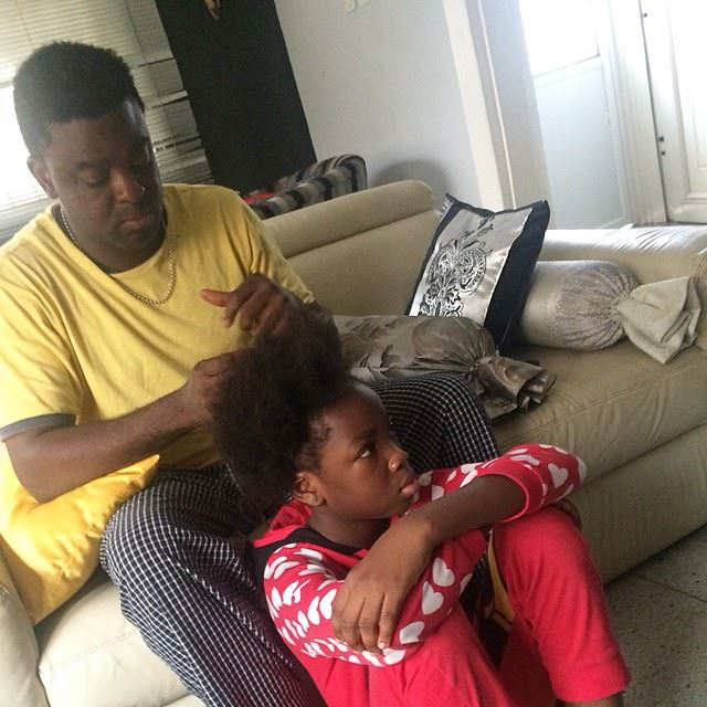 Kunle Afolayan grooming daughter hair natural