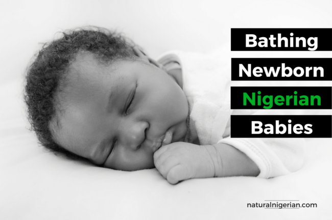 Traditional methods bathe a new Nigerian baby