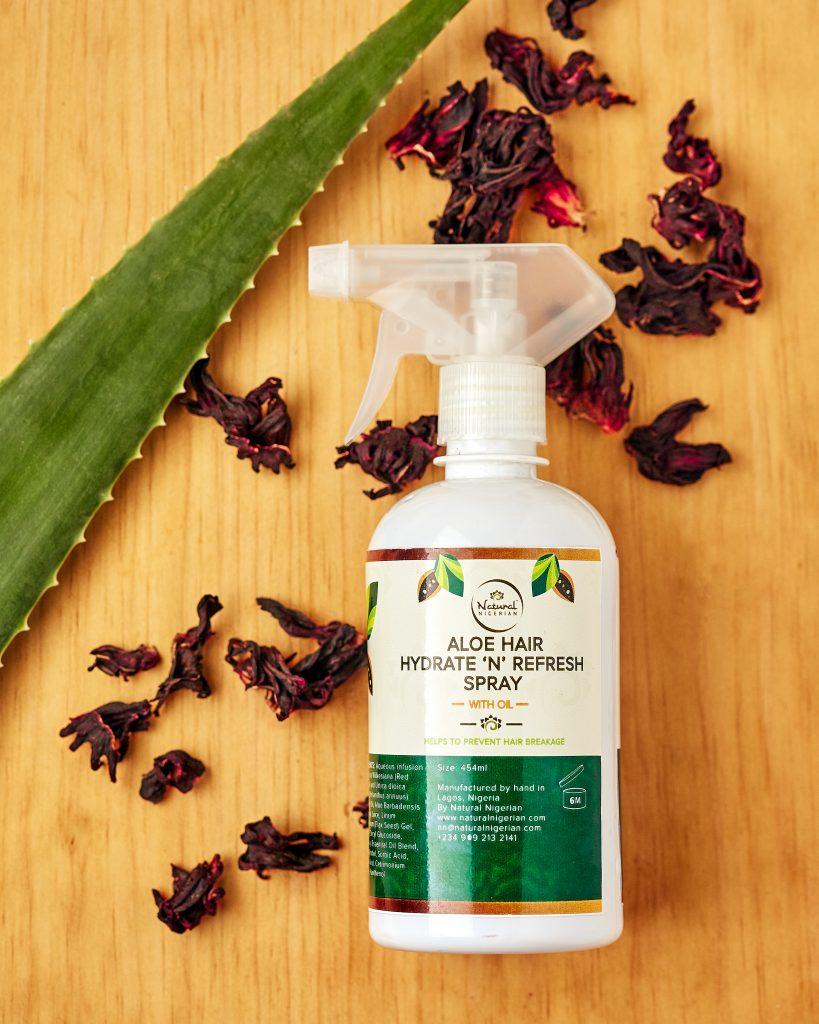 Natural Nigerian Aloe Hair Hydrate N Refresh Spray With Oil